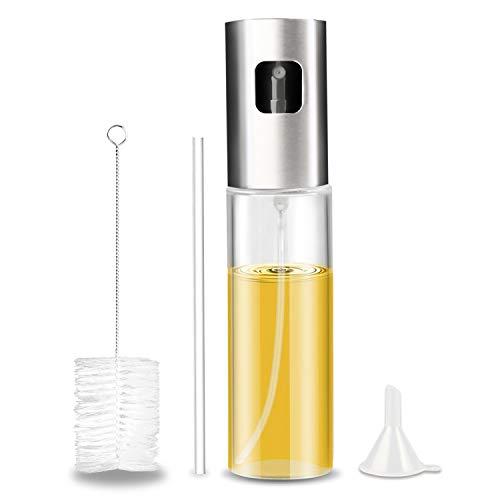 Öl Sprayer, Gifort Ölsprüher Ölspender mit gratis Tube Bürste und Trichter Öl Sprühflasche Auslöser für BBQ Brot backen Küche Kochen (100ML)